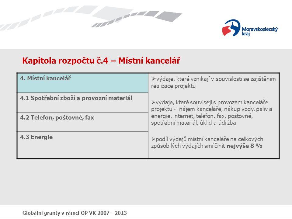 Globální granty v rámci OP VK 2007 - 2013 Kapitola rozpočtu č.4 – Místní kancelář 4. Místní kancelář  výdaje, které vznikají v souvislosti se zajiště