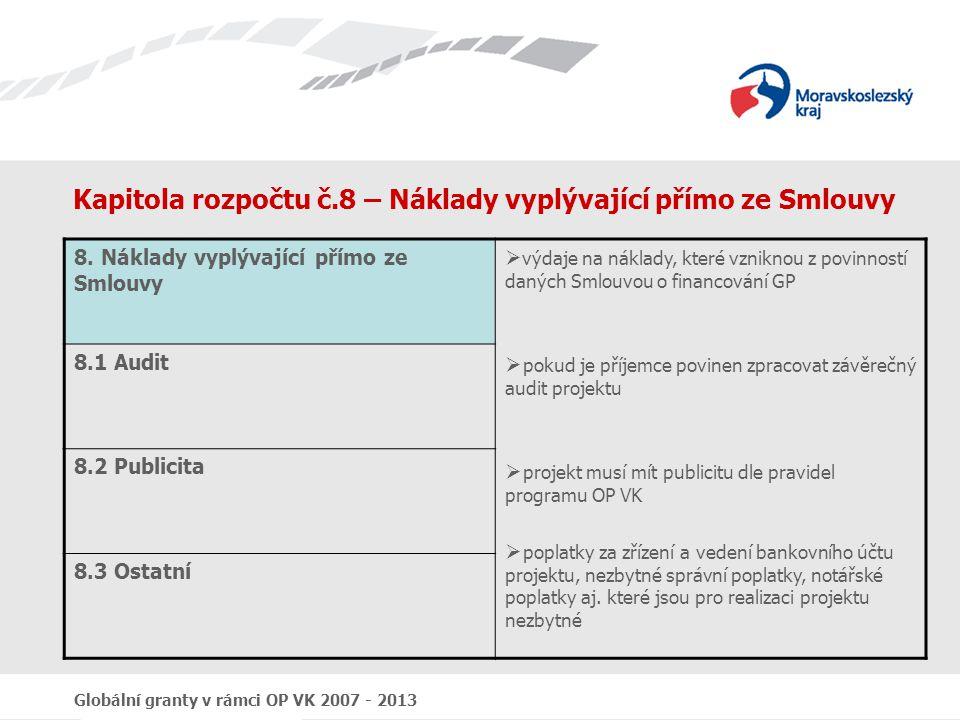 Globální granty v rámci OP VK 2007 - 2013 Kapitola rozpočtu č.8 – Náklady vyplývající přímo ze Smlouvy 8. Náklady vyplývající přímo ze Smlouvy  výdaj