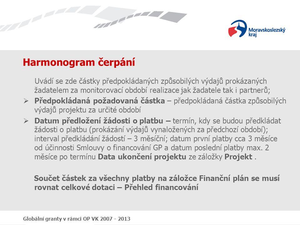 Globální granty v rámci OP VK 2007 - 2013 Harmonogram čerpání Uvádí se zde částky předpokládaných způsobilých výdajů prokázaných žadatelem za monitoro