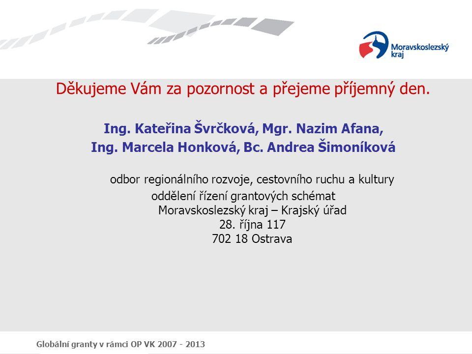 Globální granty v rámci OP VK 2007 - 2013 Děkujeme Vám za pozornost a přejeme příjemný den. Ing. Kateřina Švrčková, Mgr. Nazim Afana, Ing. Marcela Hon