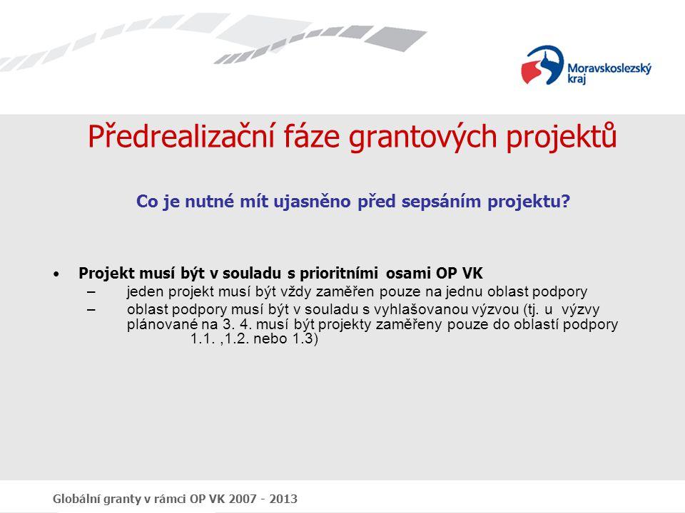Globální granty v rámci OP VK 2007 - 2013 Obecné náležitosti výzvy Identifikace výzvy (kolo výzvy, číslo GG, název GG) Program, prioritní osa, oblast podpory Finanční rámec (alokace, omezení finanční podpory na GP, míra podpory, omezení křížového financování, omezení výše zálohových plateb, atd.