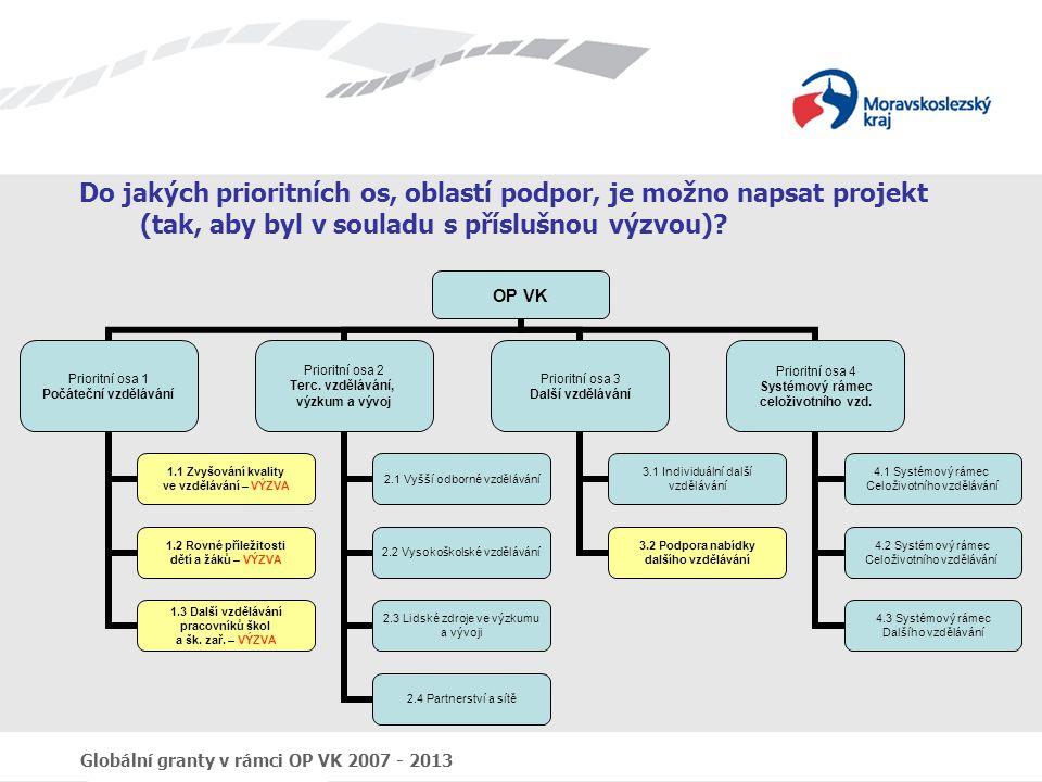 Globální granty v rámci OP VK 2007 - 2013 Do jakých prioritních os, oblastí podpor, je možno napsat projekt (tak, aby byl v souladu s příslušnou výzvo