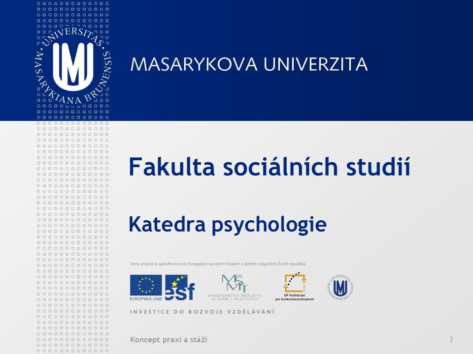Koncept praxí a stáží2 Fakulta sociálních studií Katedra psychologie