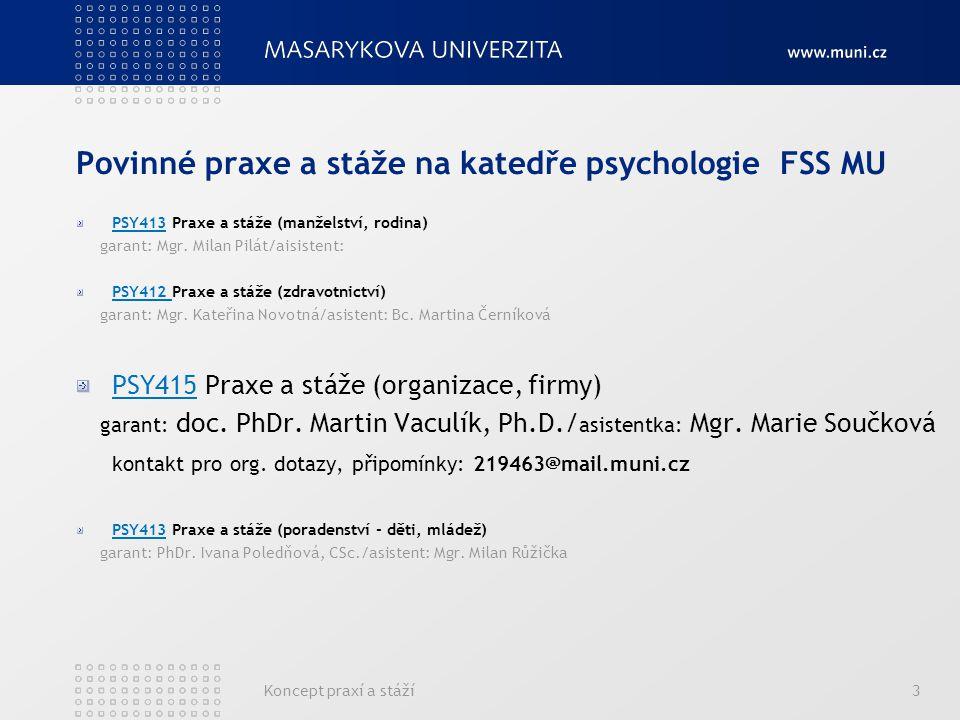 Koncept praxí a stáží3 Povinné praxe a stáže na katedře psychologie FSS MU PSY413 Praxe a stáže (manželství, rodina) garant: Mgr.