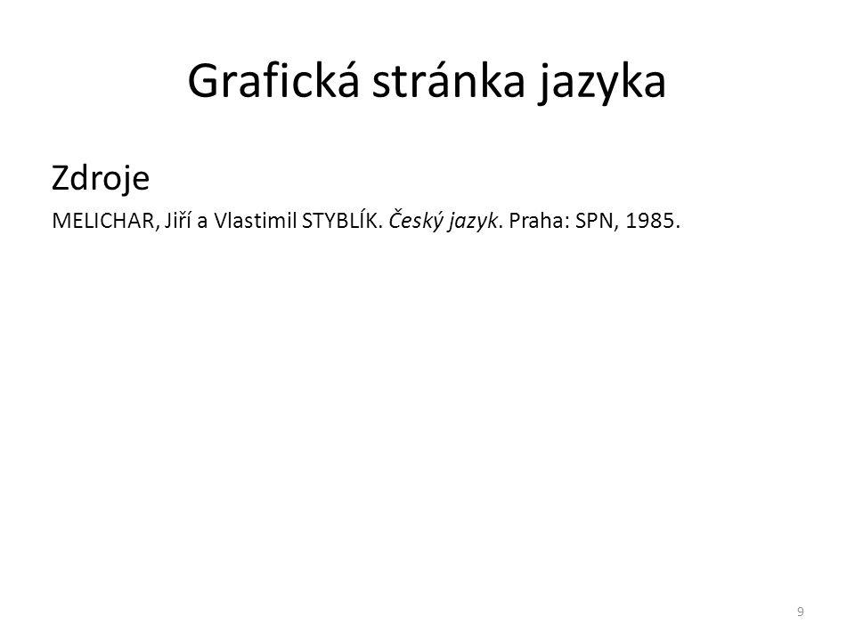Grafická stránka jazyka Zdroje MELICHAR, Jiří a Vlastimil STYBLÍK. Český jazyk. Praha: SPN, 1985. 9