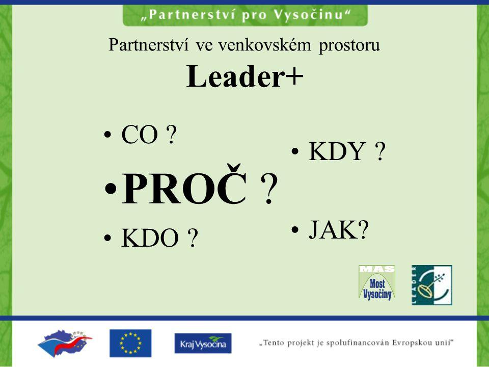 Partnerství ve venkovském prostoru Leader+ CO ? PROČ ? KDO ? KDY ? JAK?