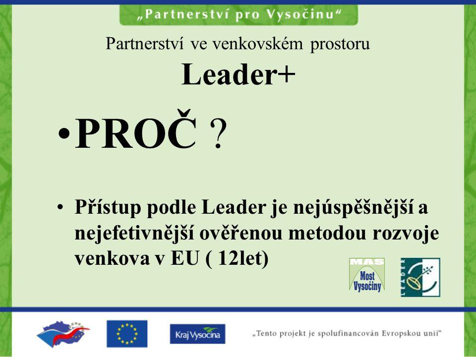 Partnerství ve venkovském prostoru Leader+ PROČ ? Přístup podle Leader je nejúspěšnější a nejefetivnější ověřenou metodou rozvoje venkova v EU ( 12let