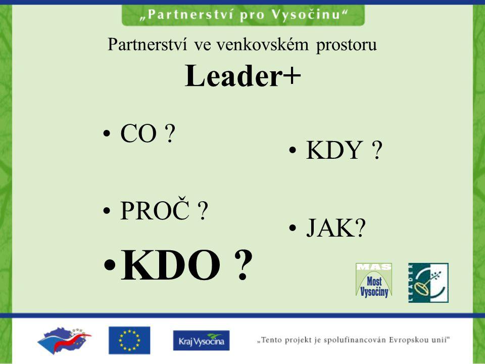 Partnerství ve venkovském prostoru Leader+ CO PROČ KDO KDY JAK