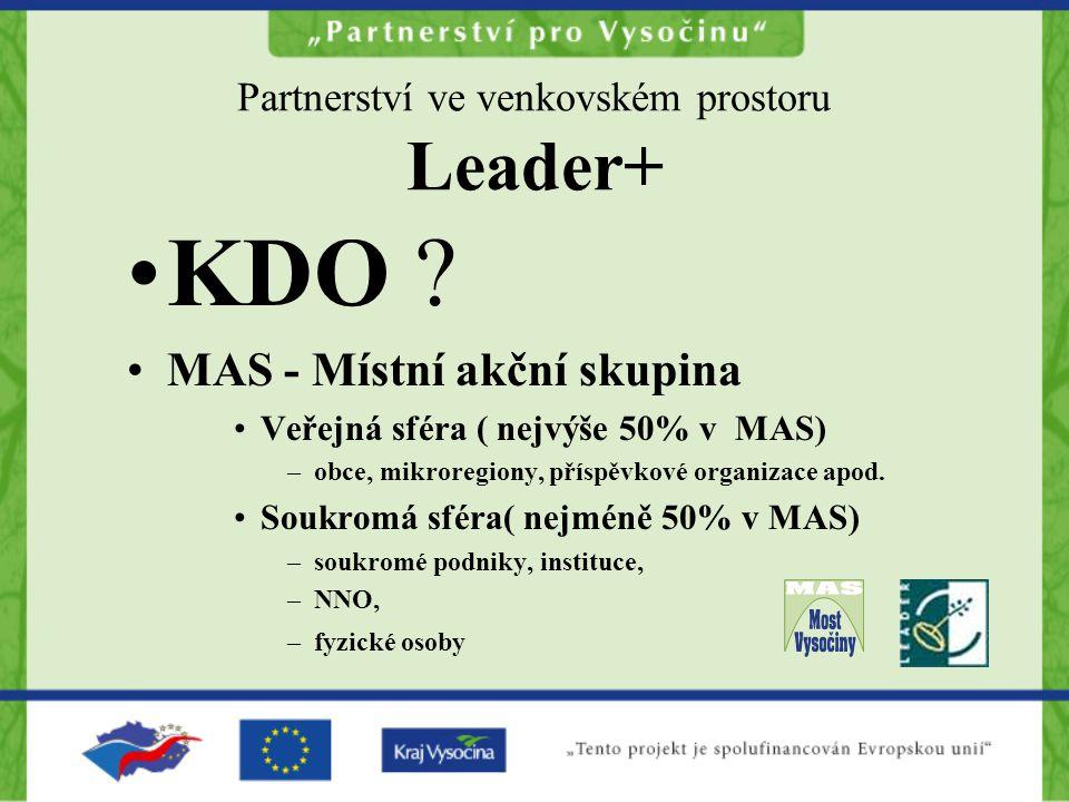 Partnerství ve venkovském prostoru Leader+ KDO ? MAS - Místní akční skupina Veřejná sféra ( nejvýše 50% v MAS) –obce, mikroregiony, příspěvkové organi