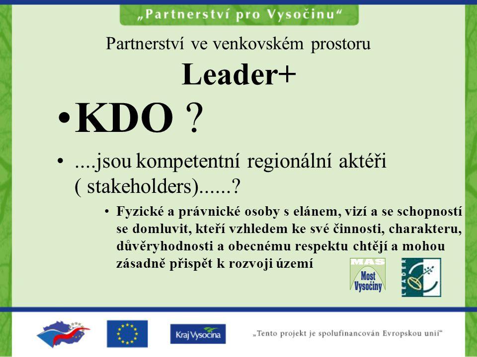 Partnerství ve venkovském prostoru Leader+ KDO ?....jsou kompetentní regionální aktéři ( stakeholders)......? Fyzické a právnické osoby s elánem, vizí