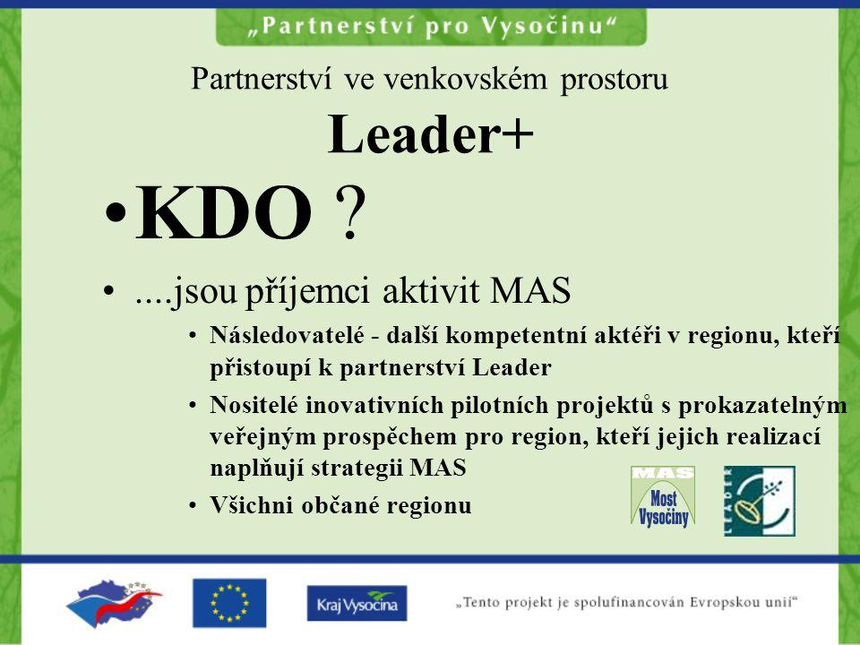 Partnerství ve venkovském prostoru Leader+ KDO ....jsou příjemci aktivit MAS Následovatelé - další kompetentní aktéři v regionu, kteří přistoupí k partnerství Leader Nositelé inovativních pilotních projektů s prokazatelným veřejným prospěchem pro region, kteří jejich realizací naplňují strategii MAS Všichni občané regionu
