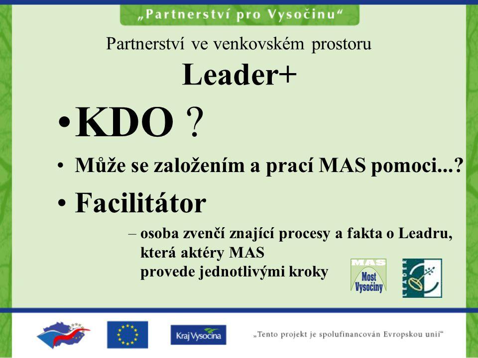Partnerství ve venkovském prostoru Leader+ KDO ? Může se založením a prací MAS pomoci...? Facilitátor –osoba zvenčí znající procesy a fakta o Leadru,