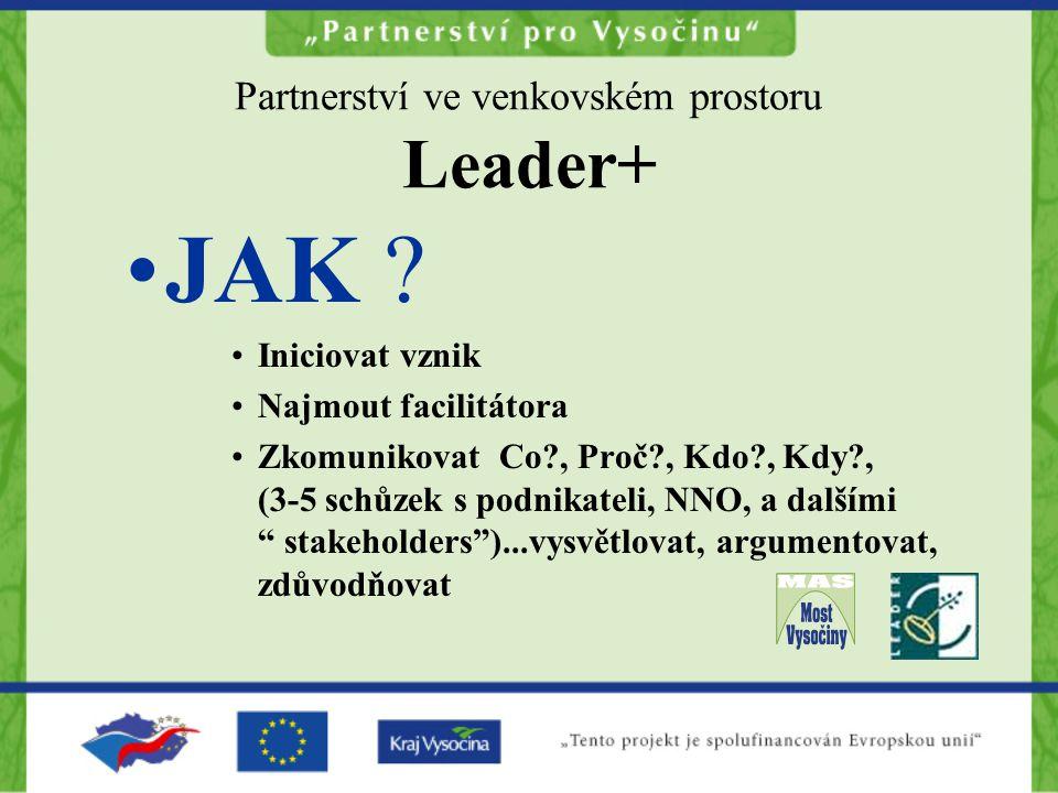 Partnerství ve venkovském prostoru Leader+ JAK ? Iniciovat vznik Najmout facilitátora Zkomunikovat Co?, Proč?, Kdo?, Kdy?, (3-5 schůzek s podnikateli,