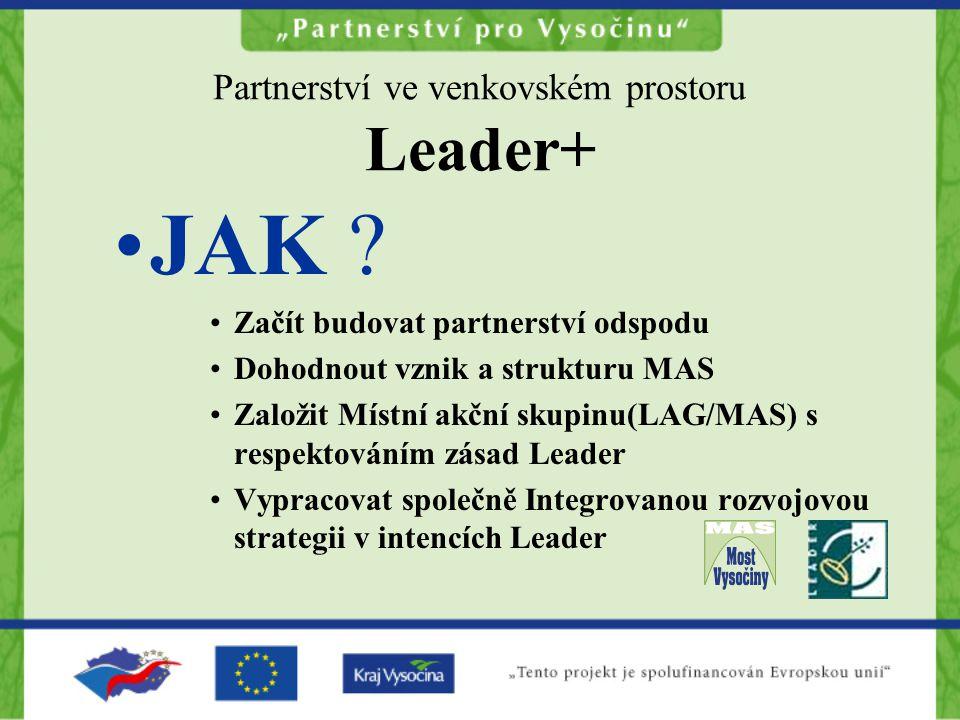 Partnerství ve venkovském prostoru Leader+ JAK ? Začít budovat partnerství odspodu Dohodnout vznik a strukturu MAS Založit Místní akční skupinu(LAG/MA