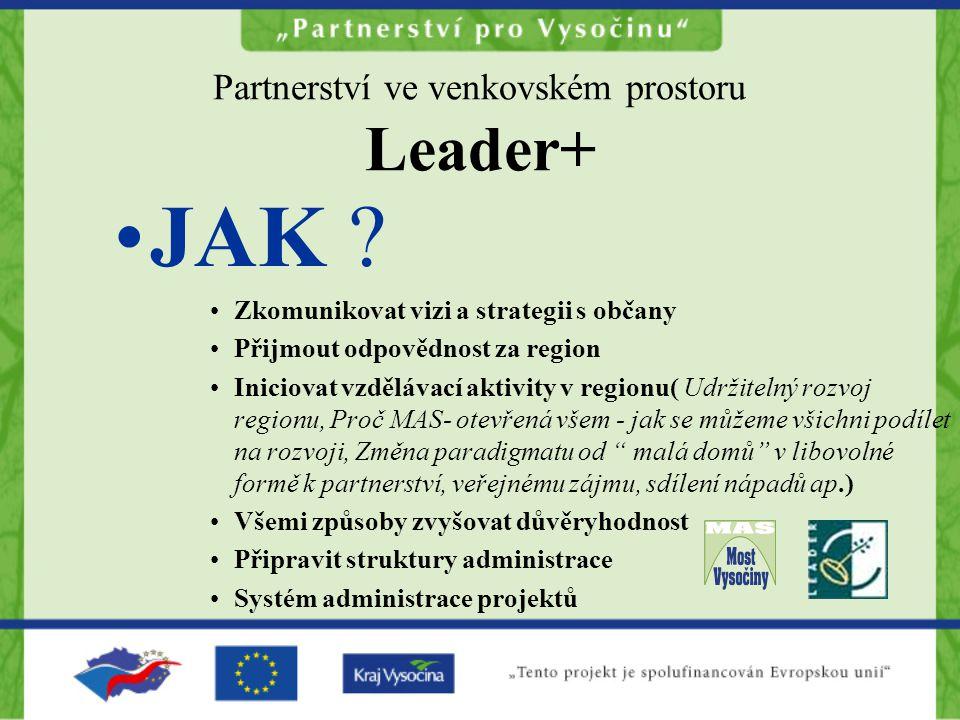 Partnerství ve venkovském prostoru Leader+ JAK ? Zkomunikovat vizi a strategii s občany Přijmout odpovědnost za region Iniciovat vzdělávací aktivity v