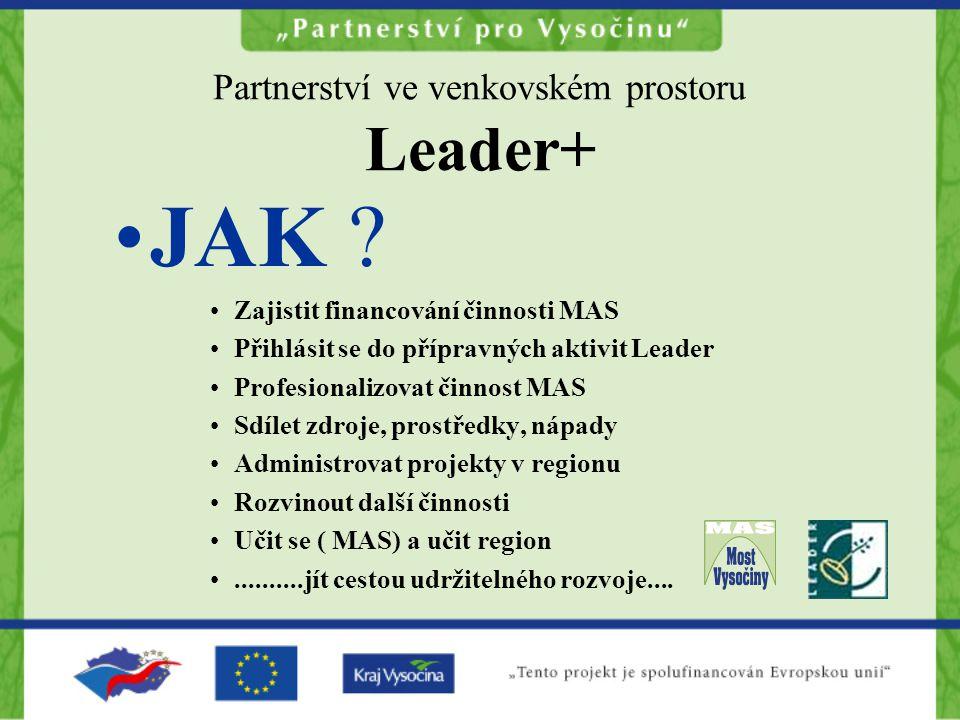Partnerství ve venkovském prostoru Leader+ JAK ? Zajistit financování činnosti MAS Přihlásit se do přípravných aktivit Leader Profesionalizovat činnos