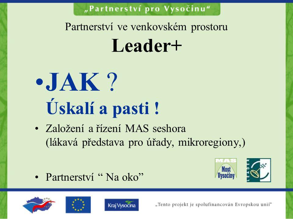 Partnerství ve venkovském prostoru Leader+ JAK ? Úskalí a pasti ! Založení a řízení MAS seshora (lákavá představa pro úřady, mikroregiony,) Partnerstv