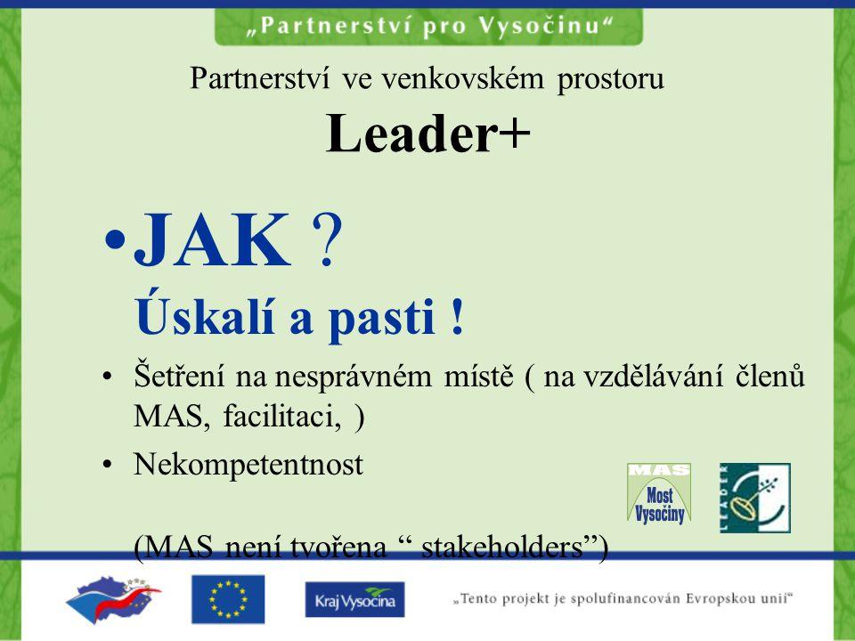 Partnerství ve venkovském prostoru Leader+ JAK ? Úskalí a pasti ! Šetření na nesprávném místě ( na vzdělávání členů MAS, facilitaci, ) Nekompetentnost