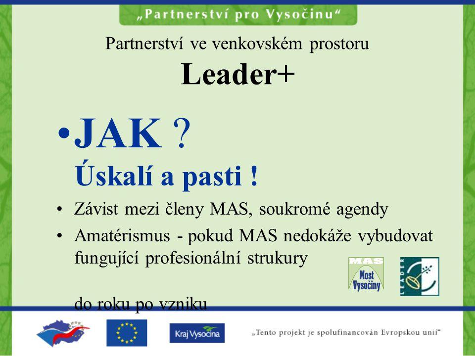 Partnerství ve venkovském prostoru Leader+ JAK ? Úskalí a pasti ! Závist mezi členy MAS, soukromé agendy Amatérismus - pokud MAS nedokáže vybudovat fu