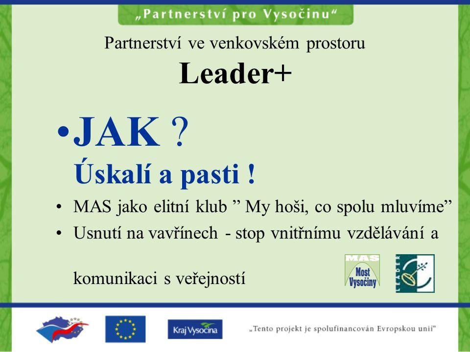 """Partnerství ve venkovském prostoru Leader+ JAK ? Úskalí a pasti ! MAS jako elitní klub """" My hoši, co spolu mluvíme"""" Usnutí na vavřínech - stop vnitřní"""