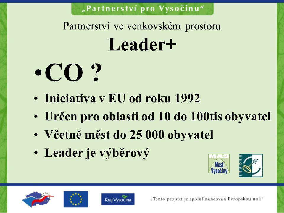 Partnerství ve venkovském prostoru Leader+ CO ? Iniciativa v EU od roku 1992 Určen pro oblasti od 10 do 100tis obyvatel Včetně měst do 25 000 obyvatel
