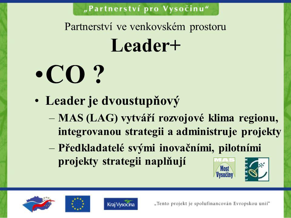 Partnerství ve venkovském prostoru Leader+ CO ? Leader je dvoustupňový –MAS (LAG) vytváří rozvojové klima regionu, integrovanou strategii a administru