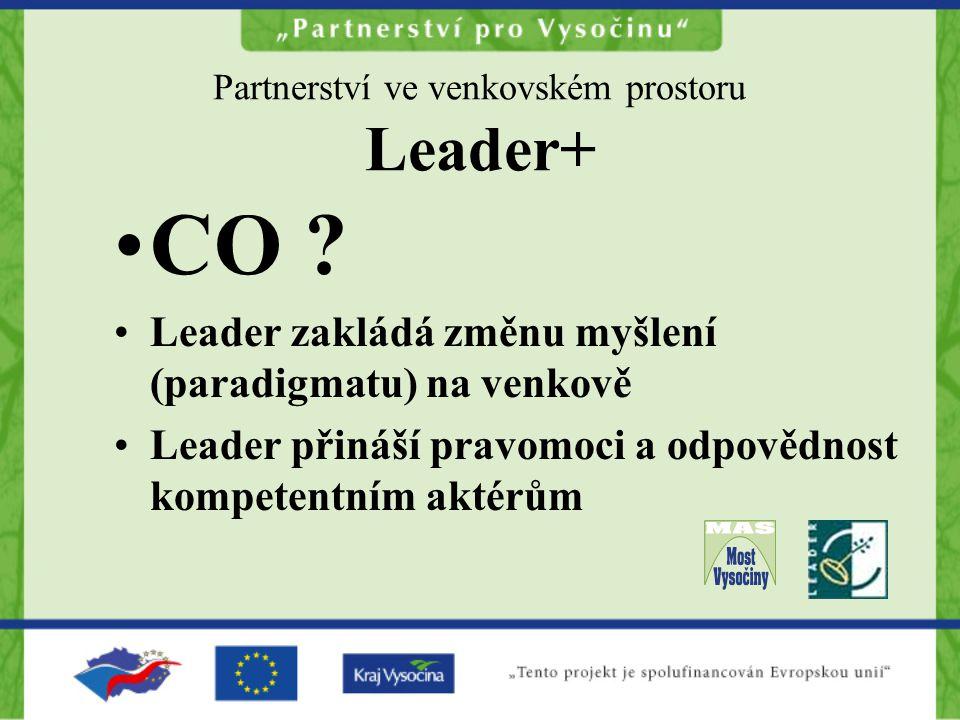 Partnerství ve venkovském prostoru Leader+ CO ? Leader zakládá změnu myšlení (paradigmatu) na venkově Leader přináší pravomoci a odpovědnost kompetent