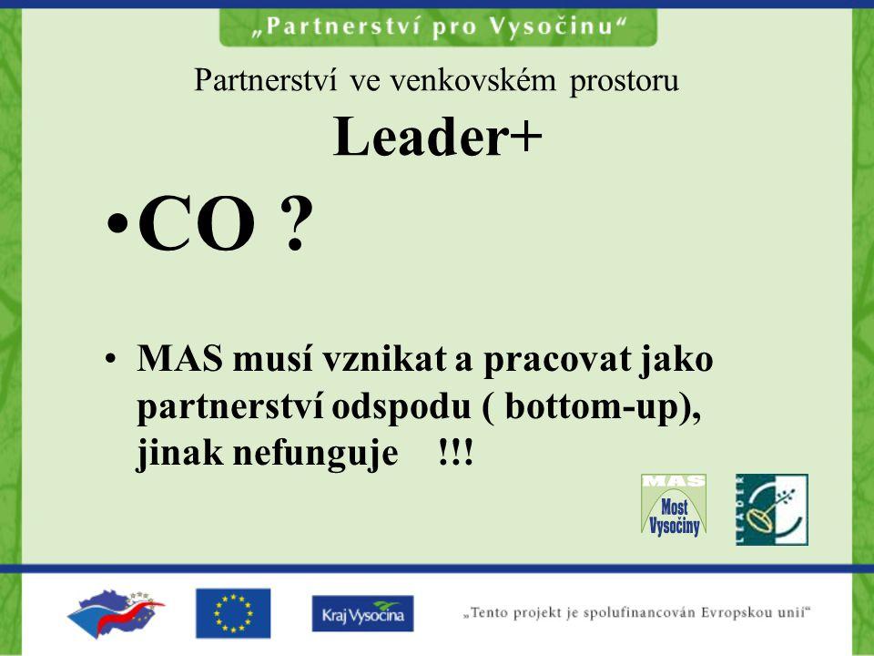 Partnerství ve venkovském prostoru Leader+ CO ? MAS musí vznikat a pracovat jako partnerství odspodu ( bottom-up), jinak nefunguje !!!