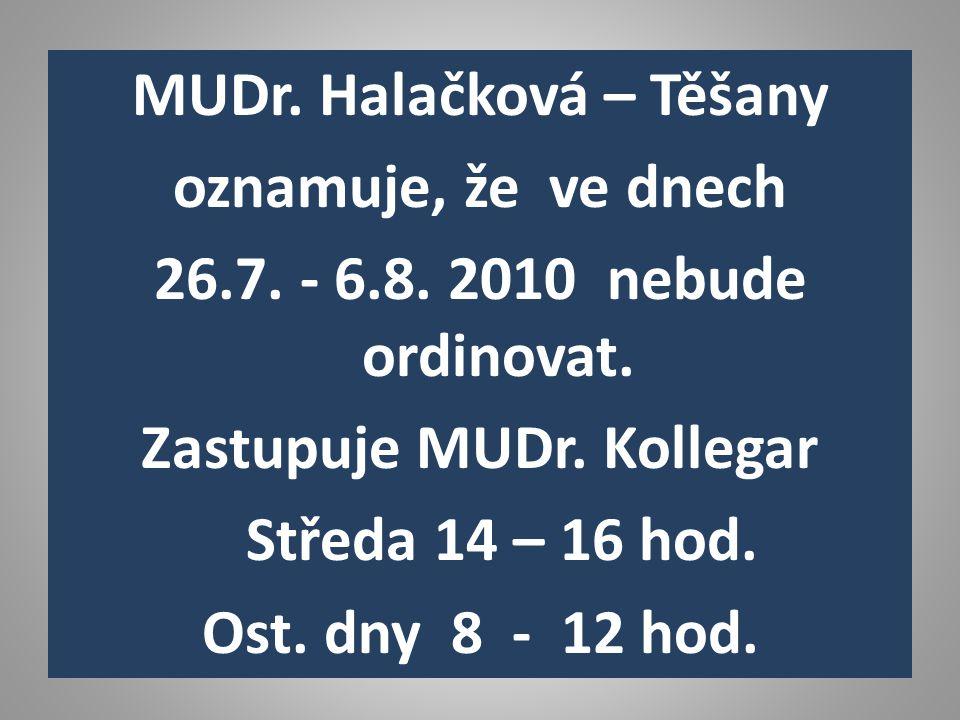 MUDr. Halačková – Těšany oznamuje, že ve dnech 26.7.