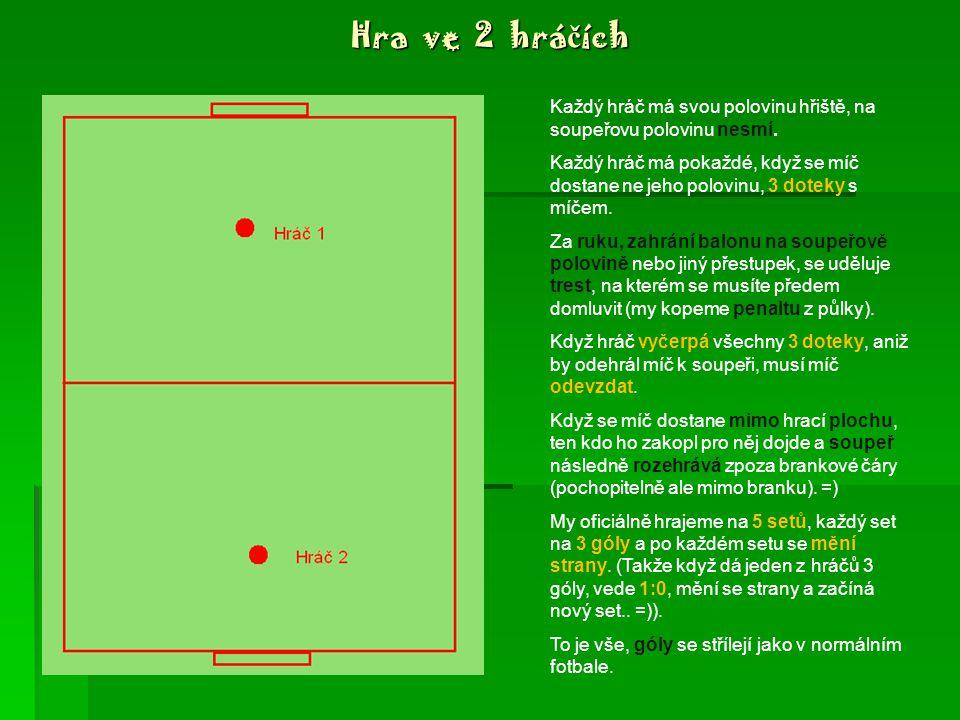 Základní informace  Hřiště je lepší oplocené, s jasným vyznačením půlící čáry  Počet hráčů: 2, 4, maximálně 6  Typ hřiště: malé - např.: toto je ideální =) toto je ideální =)