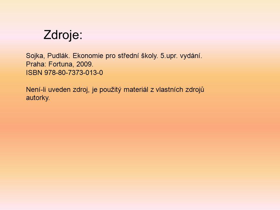 Zdroje: Sojka, Pudlák. Ekonomie pro střední školy. 5.upr. vydání. Praha: Fortuna, 2009. ISBN 978-80-7373-013-0 Není-li uveden zdroj, je použitý materi