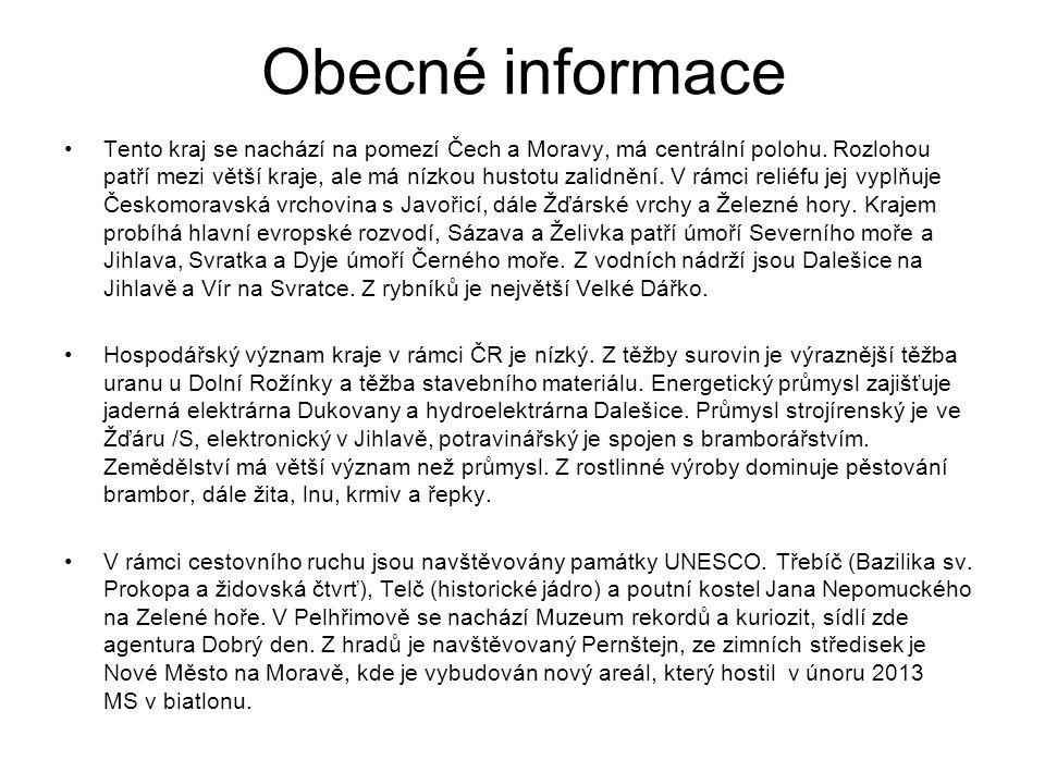 Okresní města Havlíčkův Brod Jihlava Pelhřimov Třebíč Žďár nad Sázavou