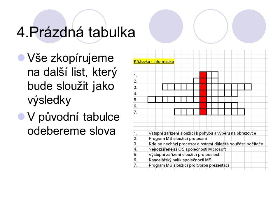 4.Prázdná tabulka Vše zkopírujeme na další list, který bude sloužit jako výsledky V původní tabulce odebereme slova