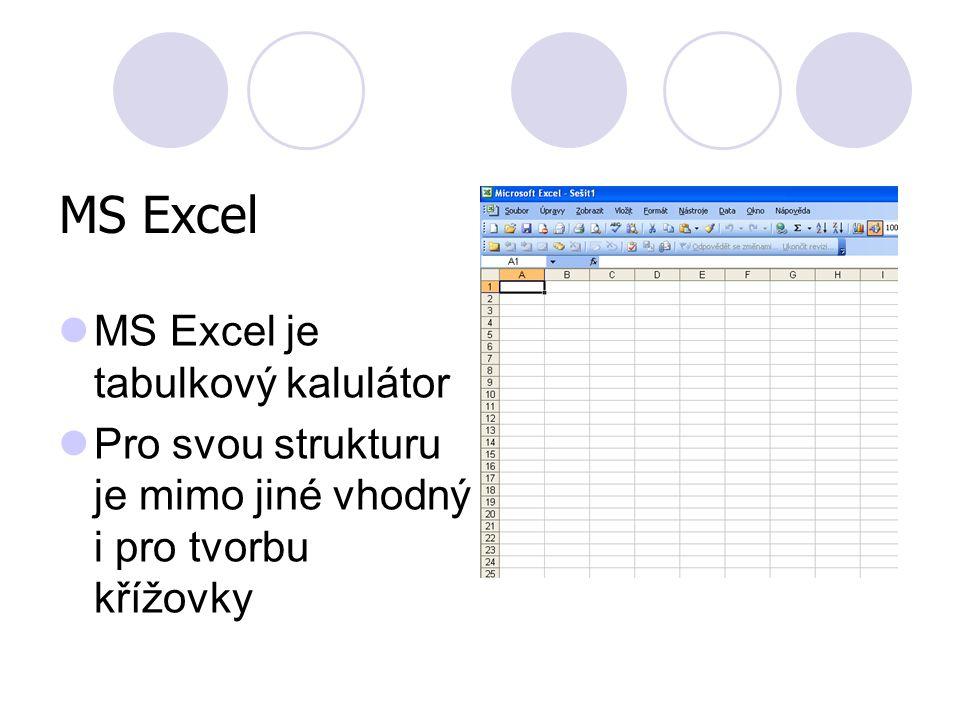 MS Excel MS Excel je tabulkový kalulátor Pro svou strukturu je mimo jiné vhodný i pro tvorbu křížovky