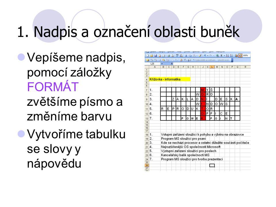 1. Nadpis a označení oblasti buněk Vepíšeme nadpis, pomocí záložky FORMÁT zvětšíme písmo a změníme barvu Vytvoříme tabulku se slovy y nápovědu