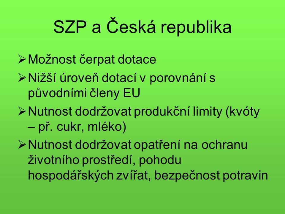 SZP a Česká republika MMožnost čerpat dotace NNižší úroveň dotací v porovnání s původními členy EU NNutnost dodržovat produkční limity (kvóty – př.