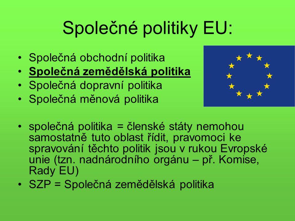 Společné politiky EU: Společná obchodní politika Společná zemědělská politika Společná dopravní politika Společná měnová politika společná politika = členské státy nemohou samostatně tuto oblast řídit, pravomoci ke spravování těchto politik jsou v rukou Evropské unie (tzn.
