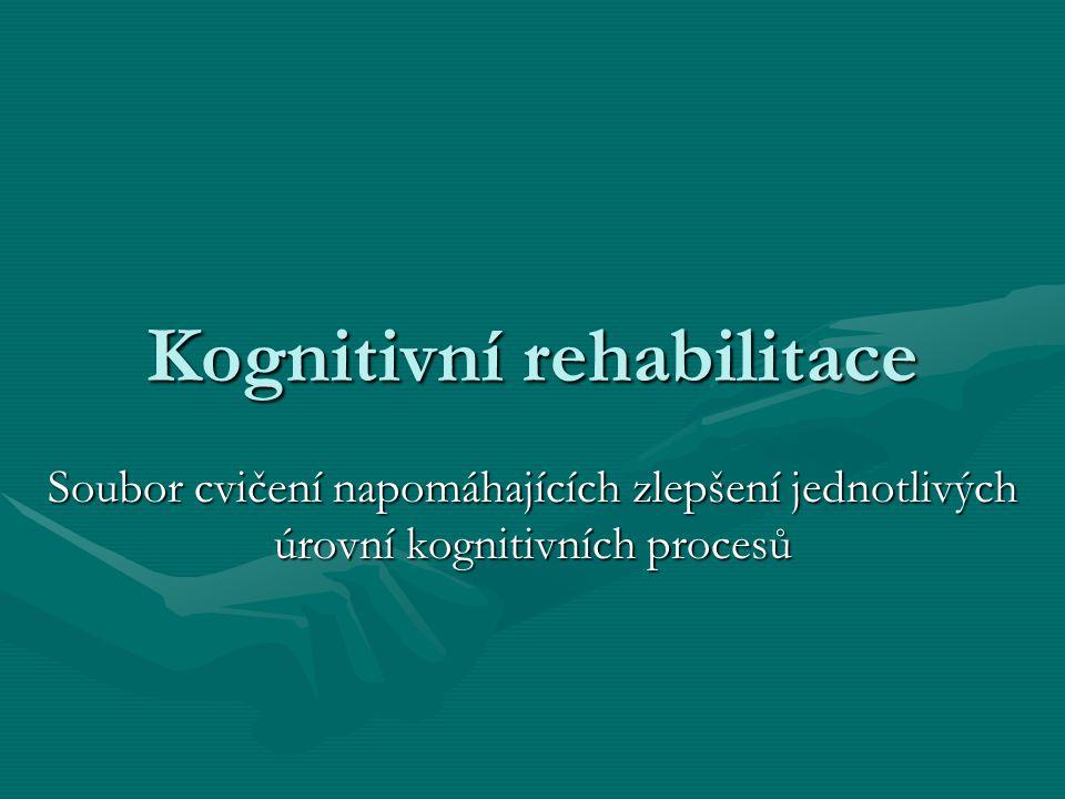 Kognitivní rehabilitace Soubor cvičení napomáhajících zlepšení jednotlivých úrovní kognitivních procesů