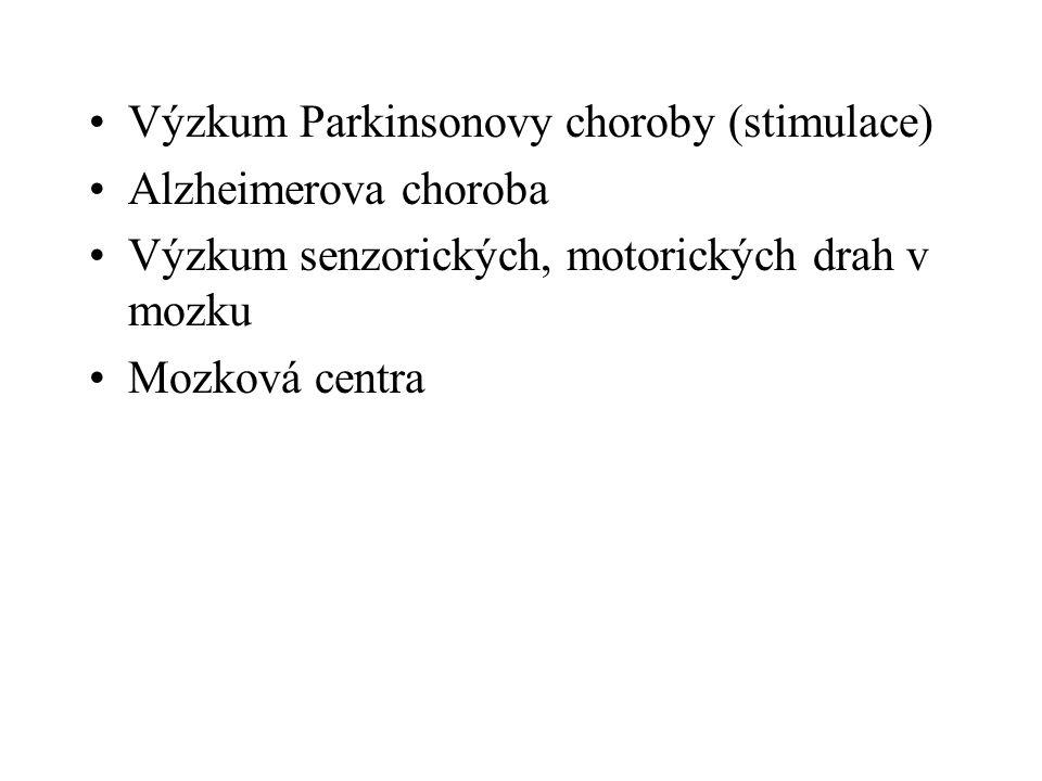 Výzkum Parkinsonovy choroby (stimulace) Alzheimerova choroba Výzkum senzorických, motorických drah v mozku Mozková centra