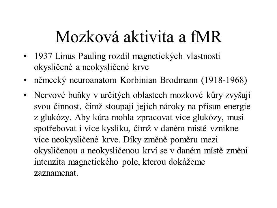 Mozková aktivita a fMR 1937 Linus Pauling rozdíl magnetických vlastností okysličené a neokysličené krve německý neuroanatom Korbinian Brodmann (1918-1