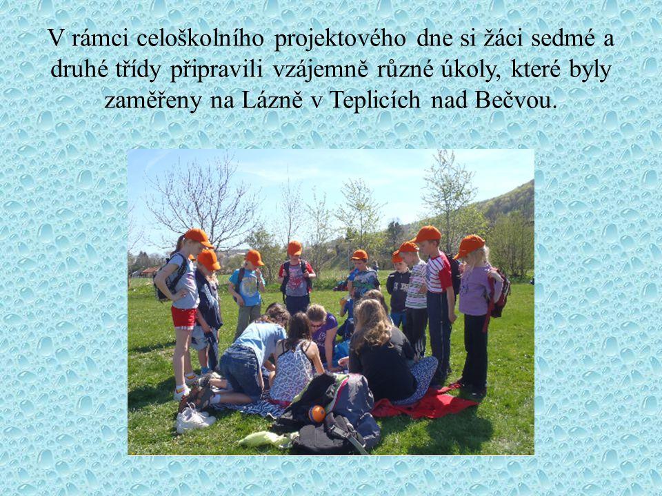 V rámci celoškolního projektového dne si žáci sedmé a druhé třídy připravili vzájemně různé úkoly, které byly zaměřeny na Lázně v Teplicích nad Bečvou