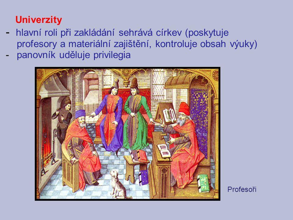 Univerzity - hlavní roli při zakládání sehrává církev (poskytuje profesory a materiální zajištění, kontroluje obsah výuky) -panovník uděluje privilegi