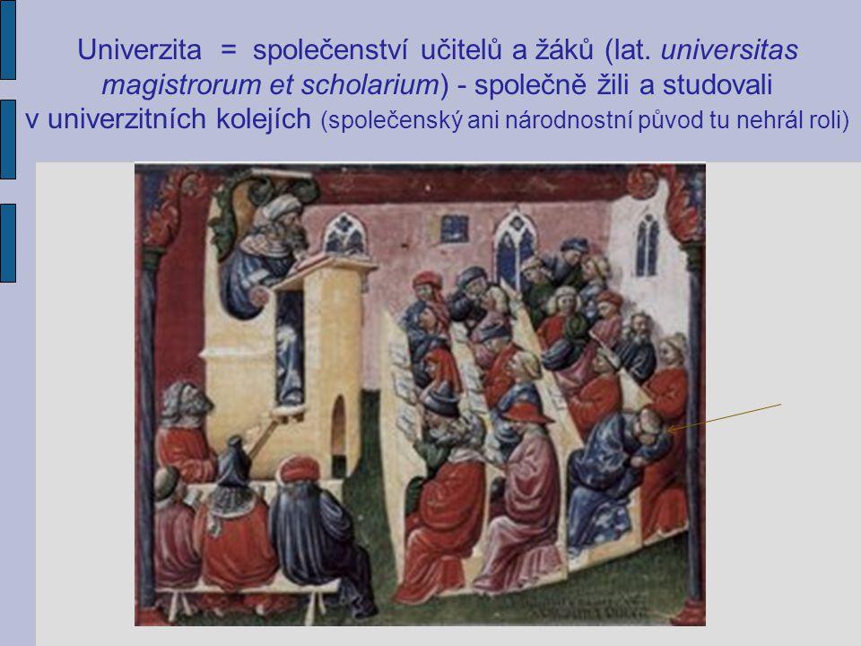 Univerzita = společenství učitelů a žáků (lat. universitas magistrorum et scholarium) - společně žili a studovali v univerzitních kolejích (společensk