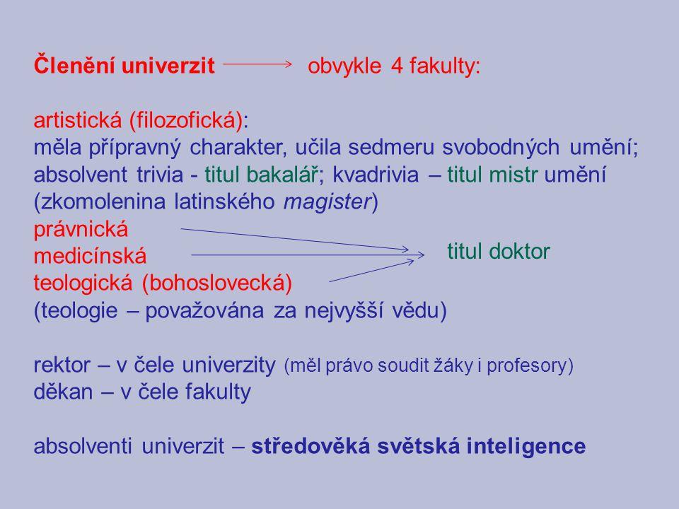 Členění univerzit obvykle 4 fakulty: artistická (filozofická): měla přípravný charakter, učila sedmeru svobodných umění; absolvent trivia - titul baka