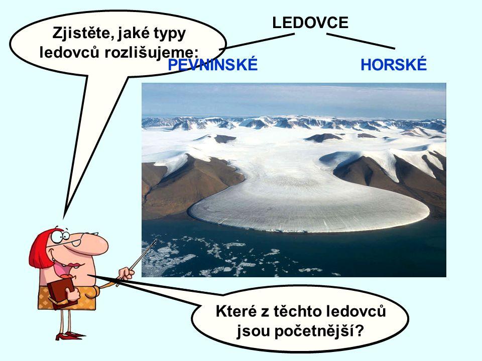Zjistěte, jaké typy ledovců rozlišujeme: Které z těchto ledovců jsou rozsáhlejší.