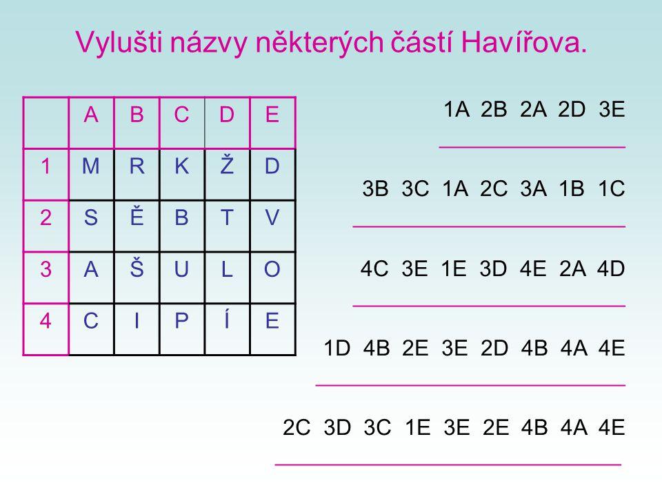 Vylušti názvy některých částí Havířova. ABCDE 1MRKŽD 2SĚBTV 3AŠULO 4CIPÍE 1A 2B 2A 2D 3E _______________ 3B 3C 1A 2C 3A 1B 1C ______________________ 4