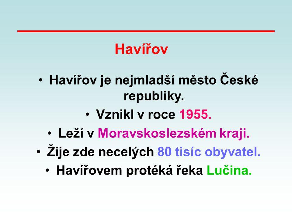 Havířov je nejmladší město České republiky. Vznikl v roce 1955. Leží v Moravskoslezském kraji. Žije zde necelých 80 tisíc obyvatel. Havířovem protéká