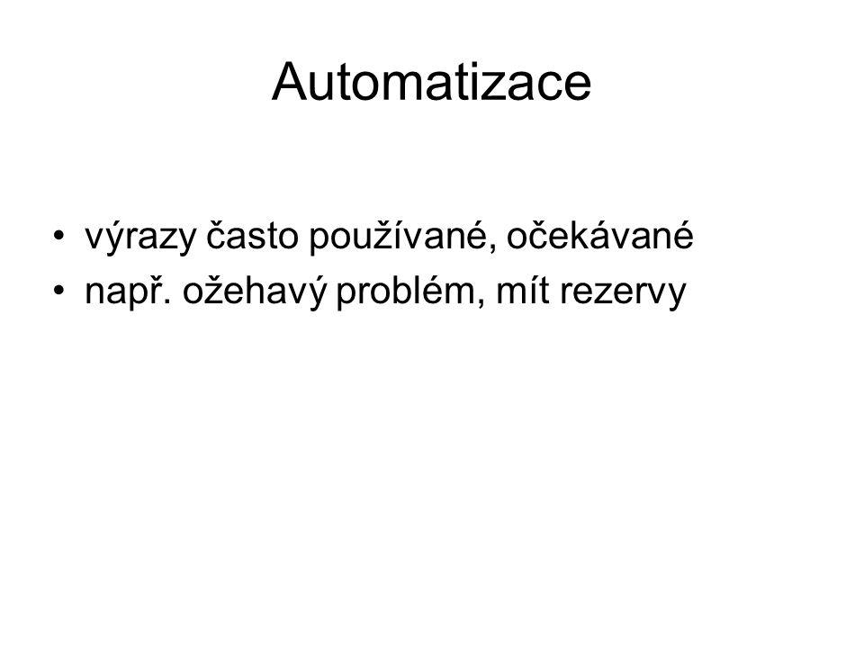 Automatizace výrazy často používané, očekávané např. ožehavý problém, mít rezervy