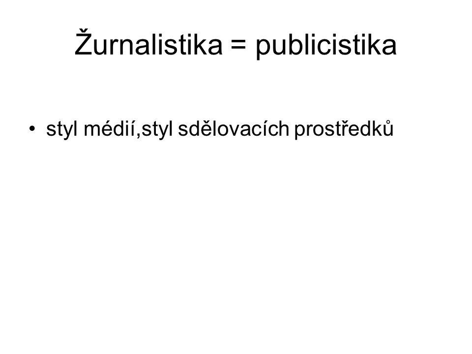 Žurnalistika = publicistika styl médií,styl sdělovacích prostředků