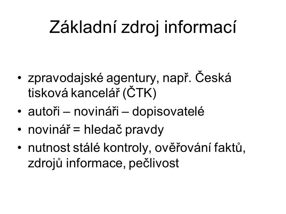 Základní zdroj informací zpravodajské agentury, např.